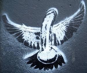 flying penis graffiti london