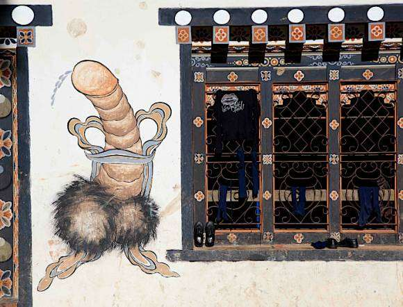 Fresque phallique au Bhoutan