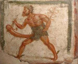 le dieu de la fertilité Priape sur une fresque de Pompeii