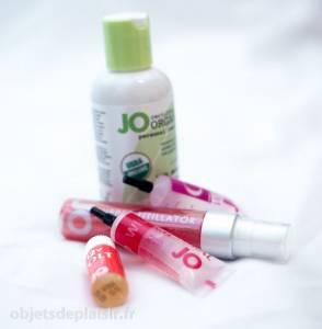 Le lubrifiant Organic en compagnie de stimulants sexuels de la marque Jo, dont je vais bientôt vous parler