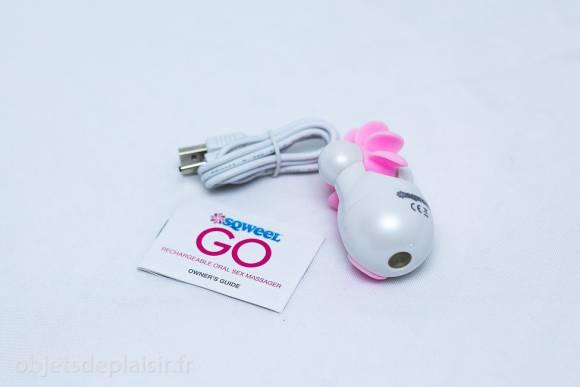 Le Sqweel Go et son câble d'alimentation