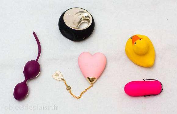 Le Lolita Baby Heart de Zalo avec les Smartballs de Fun Factory, le Lelo Ora, le canard vibrant I Rub My Duckie et le Cry Baby 2 de Love to Love