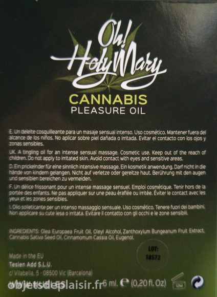 ingrédients de l'huile Oh ! Holy Mary Cannabis