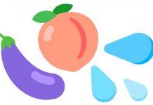 émoji aubergine, pêche et goutte d'eau